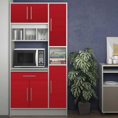 Armoire de cuisine Louise pour four à micro-ondes - blanc/rouge