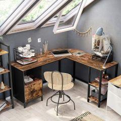 Bureau d'angle Fabrice 150 cm avec tiroir & tablettes - rustique brun/noir