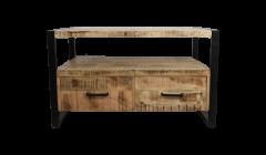Meubles TV Havane 100cm - 2 tiroirs - bois de manguier / fer