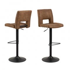 Jeu de 2 chaises de bar Syara - brun/noir mat