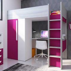 Lit mezzanine Beau avec bureau et armoire - fuchsia