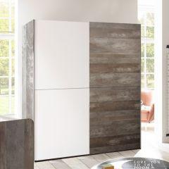 Armoire à vêtements Petrus 170cm 2 portes glissantes - blanc/bois flottant