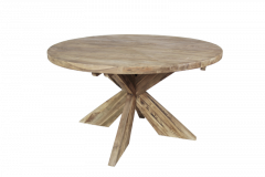 Table de repas ronde avec pied entrejambe - ø150 cm - naturel - teck