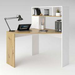 Bureau Conor 100cm - chêne vielli/blanc mat