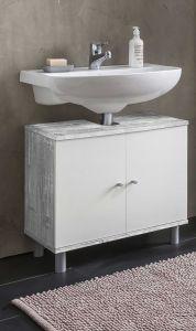 Meuble sous lavabo Benja 2 portes - blanc/béton