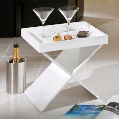 Table d'appoint Egon avec plateau amovible - blanc