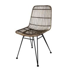Chaise de salle à manger - black wash/rotin