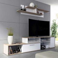 Meuble tv Whale 170cm - blanc/brun