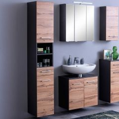 Colonne Pares 30cm 2 portes & 1 tiroir - gris graphite/chêne wotan