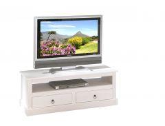 Meuble tv Provence 118cm à 2 tiroirs - blanc