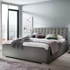 Lit coffre Homera 160x200 - gris clair (tête de lit capitonnée)
