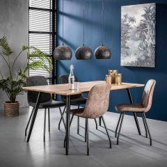 Table á manger 160cm pieds coniques - 3D Chene antiquewash
