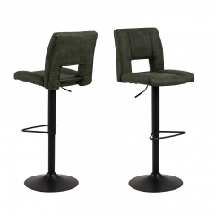 Jeu de 2 chaises de bar Syara - vert olive/noir mat