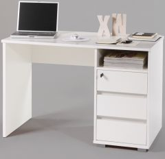 Bureau Primos 110cm avec 3 tiroirs - blanc