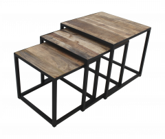 Set de table basse carré - set de 3 - bois de manguier / fer