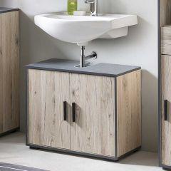 Meuble sous lavabo Ariadna 65cm avec 2 portes - chêne gris/gris graphite