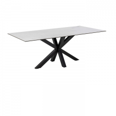 Table à manger Hennie 200x100 céramique - blanc/noir