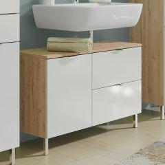 Meuble sous lavabo Mauro 80cm avec 2 portes & tiroir - chêne/blanc