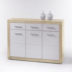 Commode Brekalo 117 cm avec 3 portes & 3 tiroirs - chêne/blanc