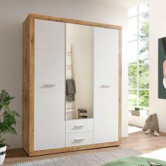 Armoire à vêtements Storck 151cm 3 portes & 2 tiroirs - chêne artisan/blanc
