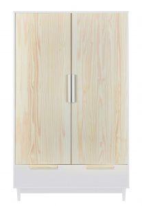 Garde-robe Ebo 127cm avec 2 portes - blanc/brun