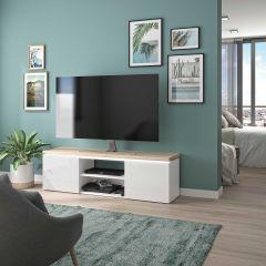 Meuble TV Pauline 153cm avec 2 portes & ruban LED - blanc