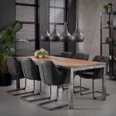 Table à manger Anais 180x90 industriel - brun/gris