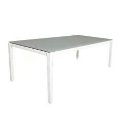 Table de jardin Albany 220x100 - blanc/taupe
