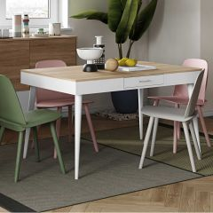 Table Horizon 134x85 - chêne/blanc