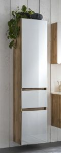 Colonne Helina 40cm 2 portes & 1 tiroir - chêne/blanc