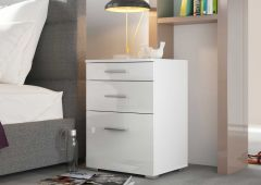Table de chevet Bedside 2 tiroirs & 1 porte - blanc brillant
