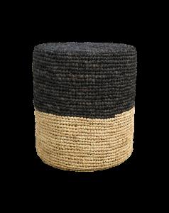 Pouf Malibu - raphia - ø34 cm - naturel / noir