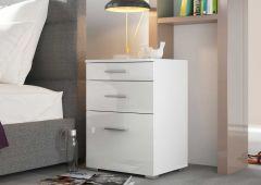 Table de chevet Bedside 3 tiroirs - blanc brillant