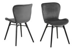 Set de 2 chaises en velours Tilda avec pieds obliques - gris foncé/noir