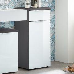 Armoire de salle de bains Sepp avec 1 porte & 1 tiroir - gris
