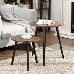 Set de 2 tables d'appoint Ruben Ø45 - brun rustique/noir