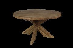 Table de repas ronde avec pied entrejambe - ø150 cm - vintage - teck