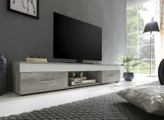 Meuble TV Sami 2 tiroirs 160cm - blanc/béton