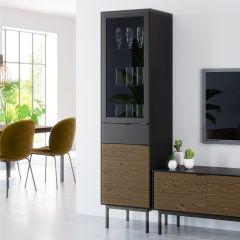 Display cabinet SOMA 136 - Display cabinet with 1 glass door, 1 door and 1 drawer - BLACK/ESPRESSO