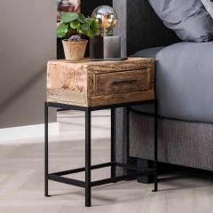 Table de chevet Lodge industriel - bois recyclé