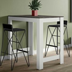 Table de bar Parnal 110x70 - blanc/béton