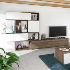 Meuble tv Verena 230cm - noyer/blanc