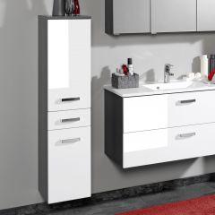 Colonne Bobbi basse 30cm 2 portes et 1 tiroir - graphite/blanc brillant