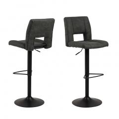 Jeu de 2 chaises de bar Syara - anthracite/noir mat