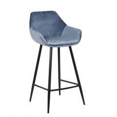Lot de 2 chaises de bar Amman - hauteur d'assise 75 cm - bleu