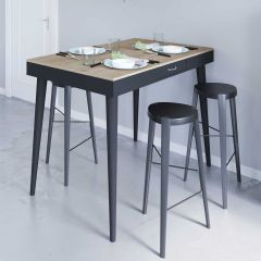 Table de bar Horizon 134x85 avec 2 tiroirs - chêne/noir