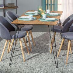 Table à manger Terki - chêne/métal