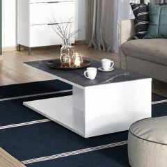 Table basse Karsten 109cm - blanc/marbre
