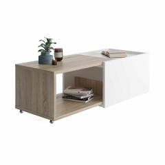 Table basse extensible Sleeve - chêne/blanc