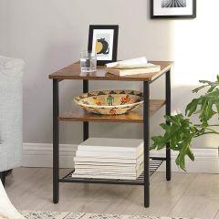 Table d'appoint Gio 45x45 2 tablettes - brun rustique/noir